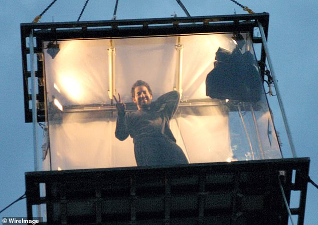 Blaine pictured during a stunt in London where he spent 44 days suspended in a box overlooking the Thames River without food in 2003
