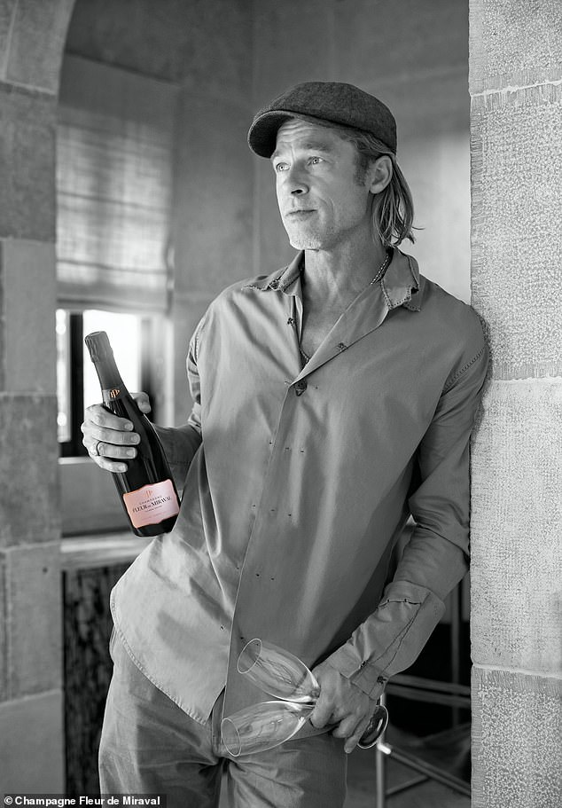 Hitting US shelves on October 15! Two-time Oscar winner Brad Pitt 'is very proud' of his limited-release $390 rosé Champagne Fleur de Miraval, which was created on his 1,200-acre winery Château Miraval in the South of France