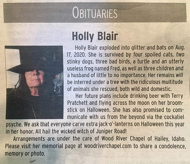 Genius: Holly Blair from Idaho died on August 17 — and according to her obit, she 'exploded into glitter and bats'