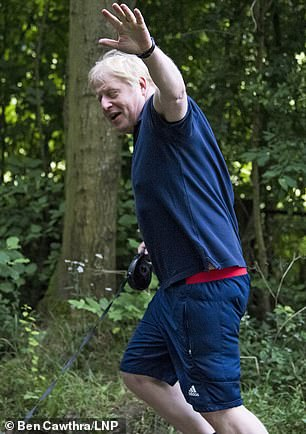 The diabetes trial comes amid Prime Minister Boris Johnson's pledge to try and help Britain lose weight as he himself has been improving his health since a brush with coronavirus that left him in intensive care (Pictured running in Buckinghamshire)