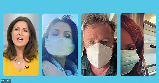 Safety first: In the video, Susanna, 49, of GMB, enjoyed a sunny walk in a protective mask, while her co-stars Piers Morgan and Kelle Bryan also donned shields in separate photos.