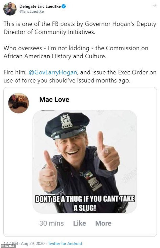 Love's social media posts (shown) began circulating on Saturday morning, leading to calls for his being canned and his eventual firing that afternoon