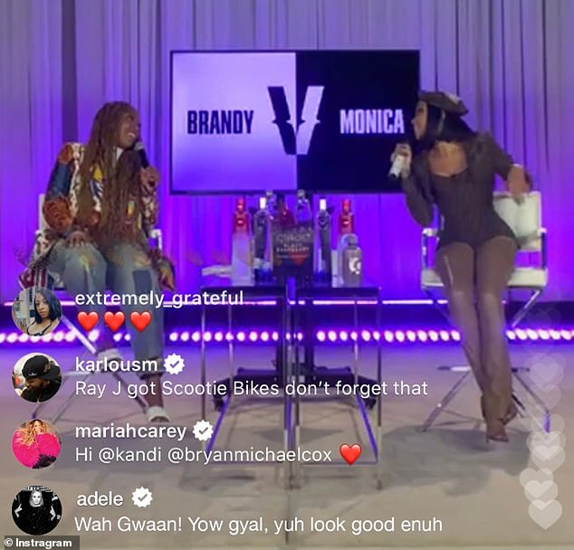 Chatting away:The comment was reportedly made during an eagerly-anticipated Instagram live feed showing R&B singers Brandy and Monica meeting for the first time in eight years following a rumoured rift