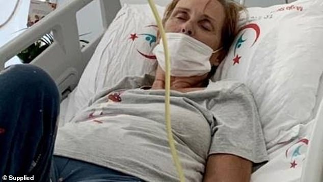 British mother Carole Fleming, 67, (pictured in hospital) is fighting for her life in a Turkish hospital after coming down with a mystery illness