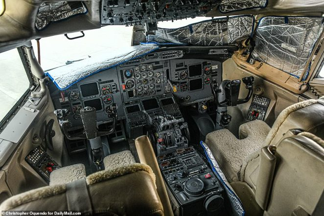 Also traveling regularly with Epstein on the private jet was his alleged madame, Ghislaine Maxwell, who is now in custody in New York facing a slew sex trafficking charges for allegedly procuring victims. Pictured: The cockpit of the Lolita Express