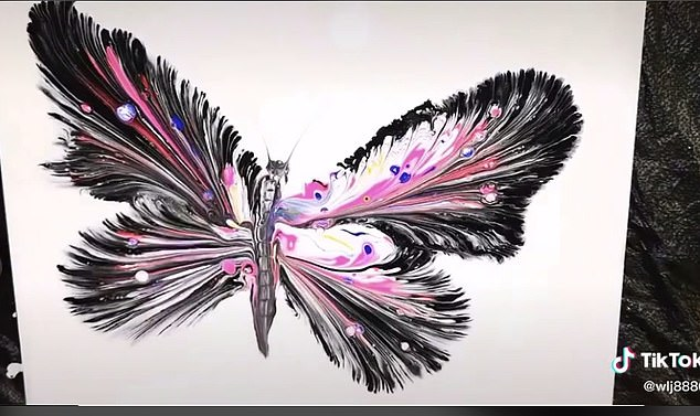 The finished painting depicted a stunning butterfly with swirling, multi-coloured wings