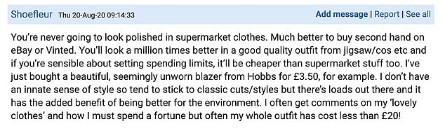 While some commenters suggested buying selective low-end pieces to fill her wardrobe, others were against the idea and instead suggested buying expensive clothes secondhand