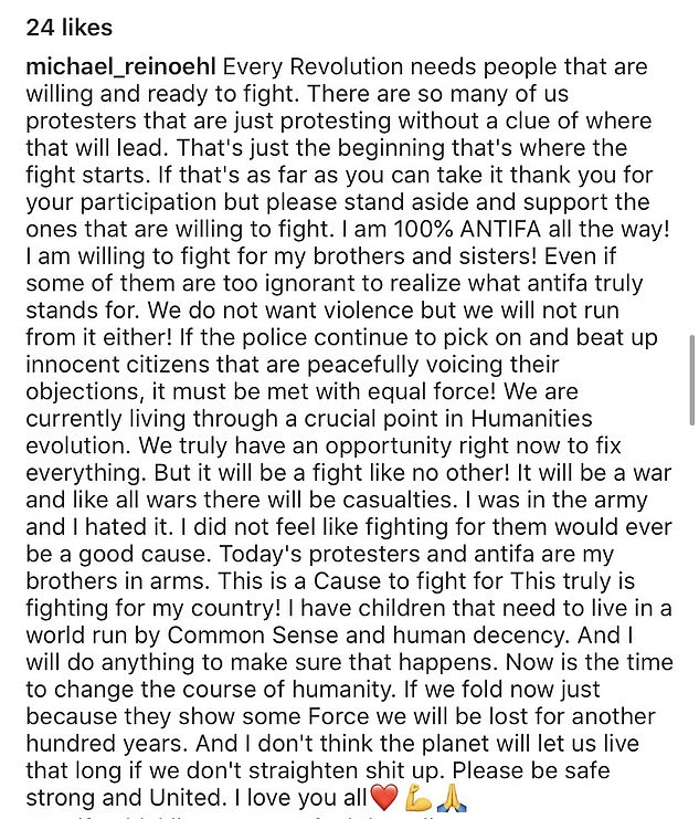 In this post, from June 16, he claimed to have served in the army and 'hated it'. He also wrote he was 100% 'ANTIFA' and says 'We do not want violence but we will not run from it either'