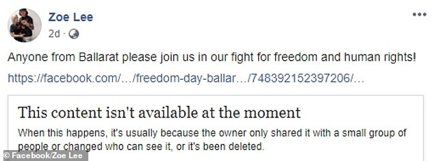 Ms Lee's alleged offensive post linked to 'Freedom Day Ballarat' event deleted since she created