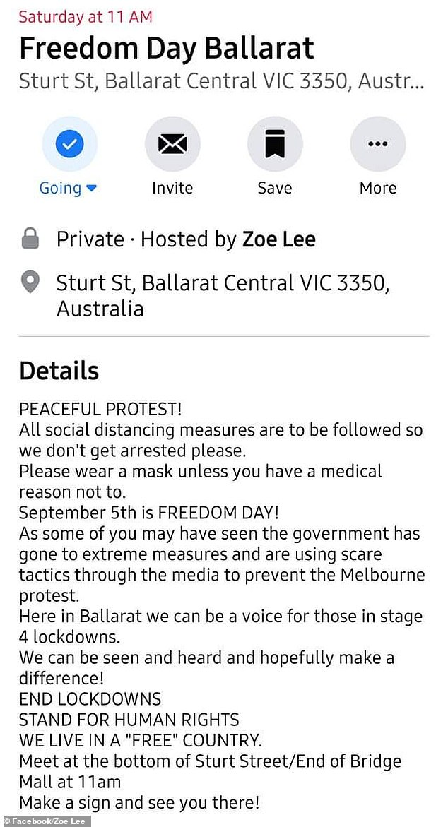 Ms Lee allegedly created this event for Saturday at 11am on Sturt Street in Ballarat