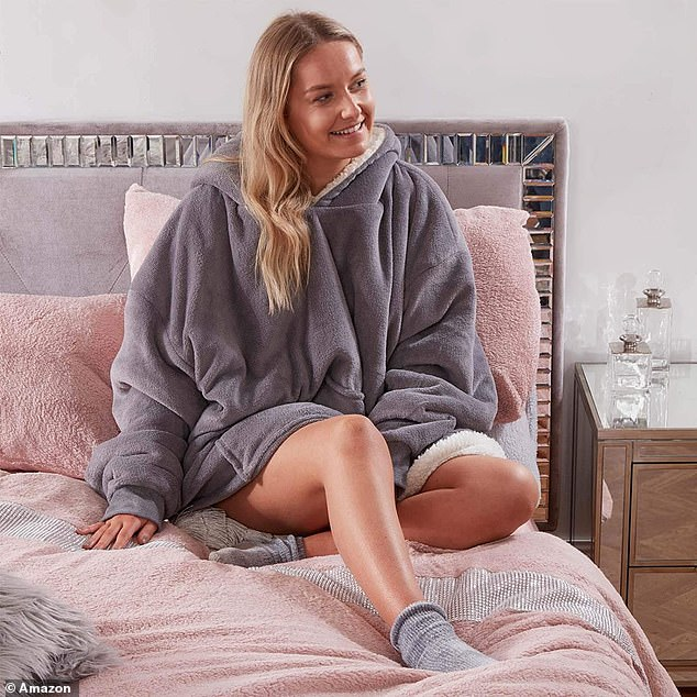 This oversized hoodie blanket lined with sherpa fleece has accumulated hundreds of reviews on Amazon