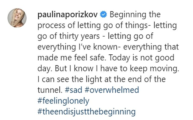 Candid: Alongside the image, the supermodel opened up about her ongoing grief, writing that she was 'beginning the process of letting go of things'