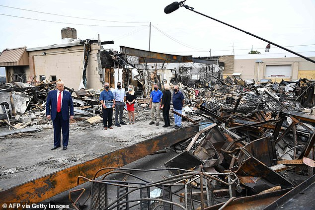 President Trump visited Kenosha on Tuesday where he investigated riot damage and held a roundtable discussion with law enforcement and local officials