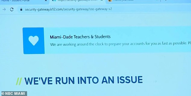 Pictured: An error screen indicates that the district's virtual learning platform isn't functioning correctly