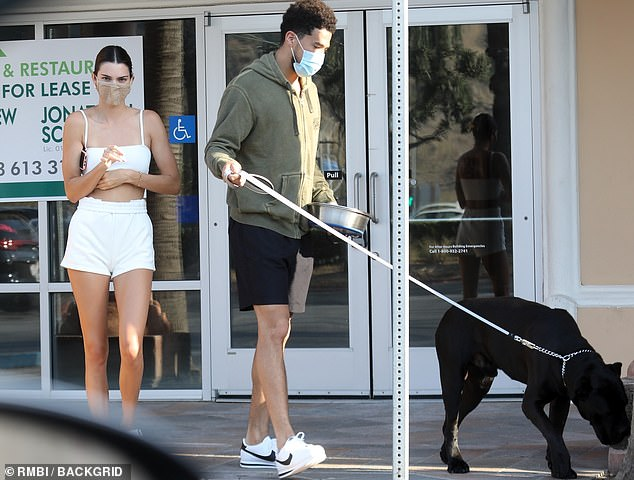 New flame: Kendall has recently been romancing Devin Booker, seen together in LA August 17 above