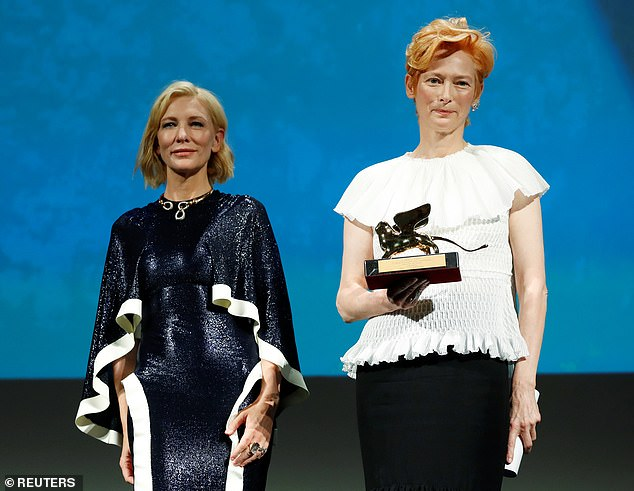 Congrats! Tilda was presented with a Golden Lion Lifetime Achievement Award by Cate Blanchett at the festival's opening ceremony on Wednesday