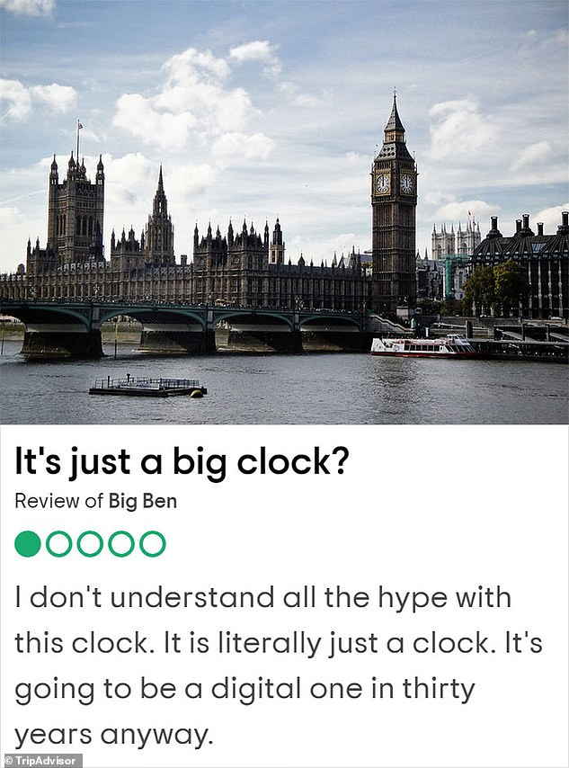 The Elizabeth Tower - often referred to by the bell inside as Big Ben - is a sight many immediately picture when thinking of London, but one reviewer said it was 'just a big clock,' while another added it should be renamed 'medium Ben' saying they'd seen 'bigger Lego towers'