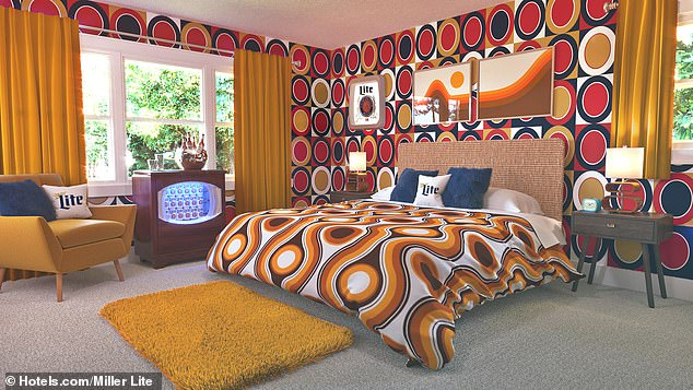 Vacation time! Miller Lite redecorated a lake house in Mona Lake, Michigan with a '70s theme