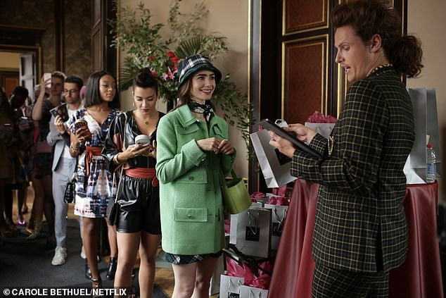 Once in Paris, Emily (Lily Collins, front in green coat)new life in Paris is filled with intoxicating adventures and surprising challenges as she juggles winning over her work colleagues, making friends, and navigating new romances