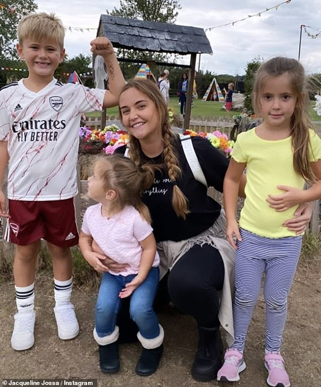 Cute! Taking to Instagram, the actress said she feels 'brand new' after her mystery illness as she shared a snaps of herself with daughters Ella and Mia, two, and Dan's son Teddy, six