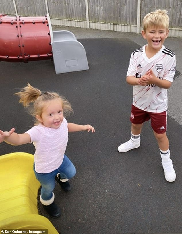 Proud pops: Dan also shared some insight into their day with pictures of the kids having fun