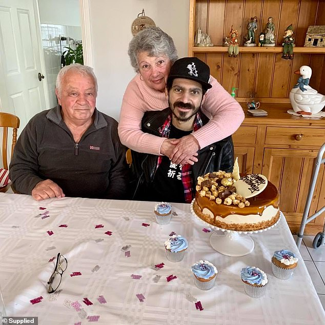 Pictured: Ben Stylo with his grandparents earlier in 2020. Before he died,Mr Stylo was able to respond to nurses who told him to squeeze their hand