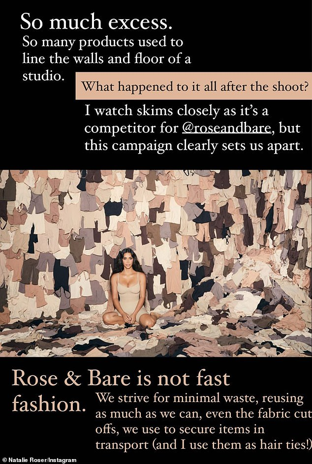 'This campaign clearly sets us apart': Reposting an image from the campaign to Instagram on Wednesday, Natalie pointed out what she believes is the difference between her brand Rose & Bare and Skims