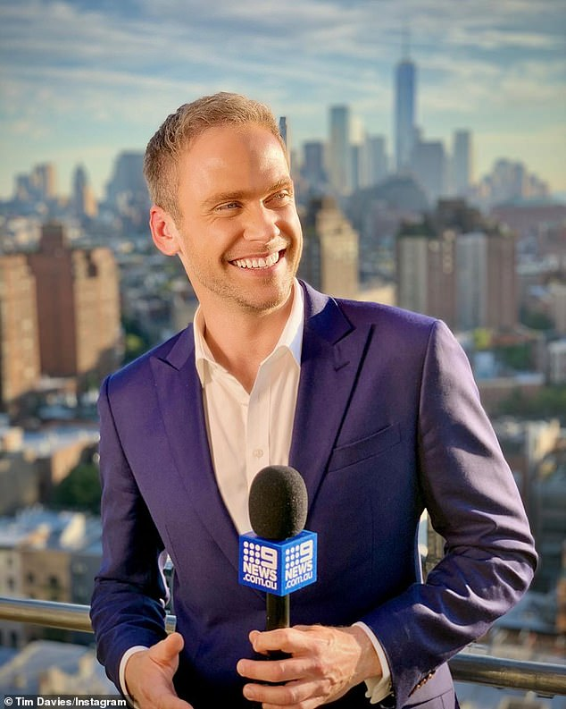 Dream gig: Today show's Tim Davies [pictured] has been the envy of many after filing a series of idyllic weather reports from sun-soaked Queensland over the last two months