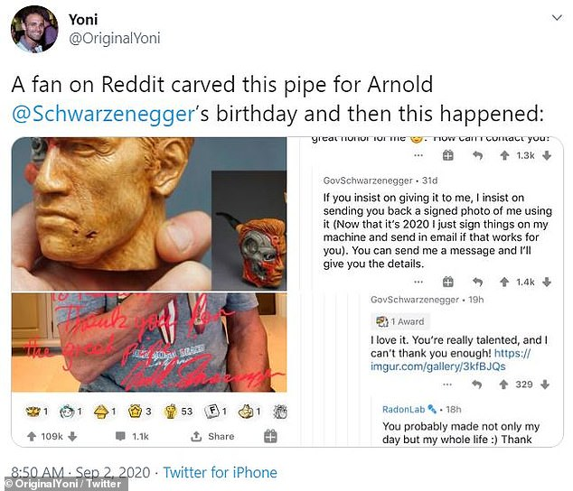 One-of-a-kind: The collectible and Arnold's involvement made for a popular topic on social media