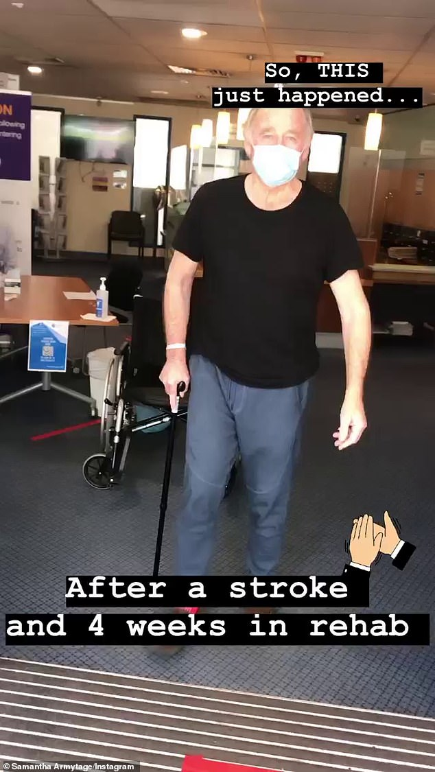 Heading home:In a post on Instagram Stories on Thursday, the 43-year-old Sunrise host shared a video of her dad walking out of hospital in Sydney, assisted by a walking stick
