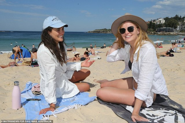 Katie and Georgia (pictured) were at the beach enjoying the sunshine on Thursday, the pair were with a group of friends celebrating a birthday