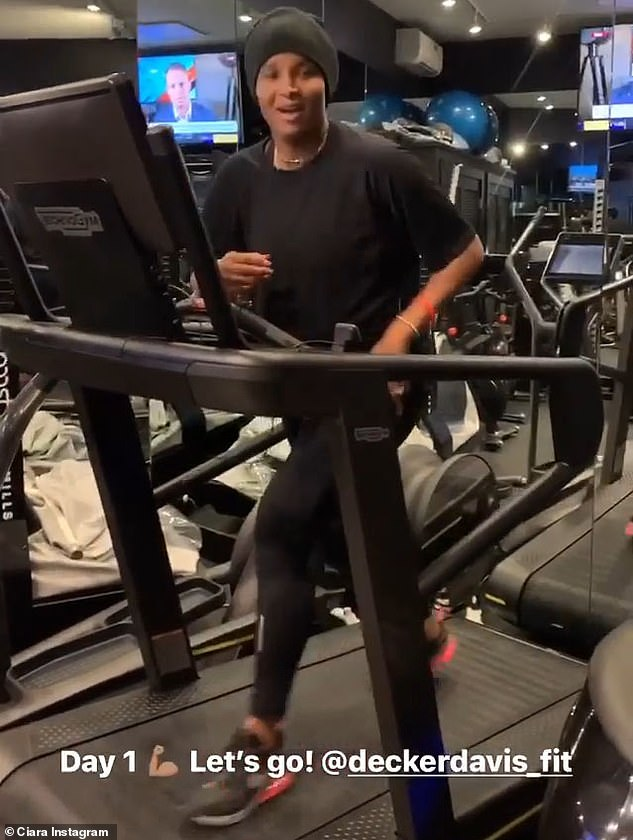 Mother of three:Ciara posted a video of the workout to Insta Stories and made sure to tag her and Russell's dashing personal trainer Decker Davis