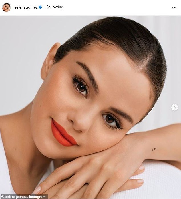 Her own best advertisement: She has proudly shared that her new makeup is '100% vegan and cruelty-free' and the line includes foundation, blush, eye-liner and lipstick and gloss