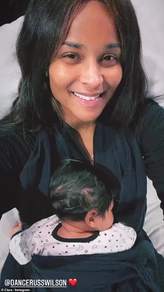Baby mine:Ciara shared a heart-melting selfie video to her Insta Stories of her newborn son Win snoozing peacefully against her front in a baby sling