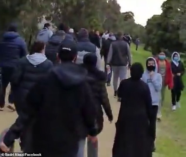 Study co-author Professor Nicholas Biddle said given Victoria's circumstances, it was 'unsurprising' there had been a greater increase in worry and anxiety among people in the state. Pictured: Australians not being socially distanced