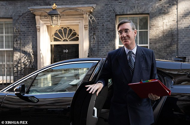 Leader of the House of Commons, Jacob Rees-Mogg, arrives at Downing Street yesterday