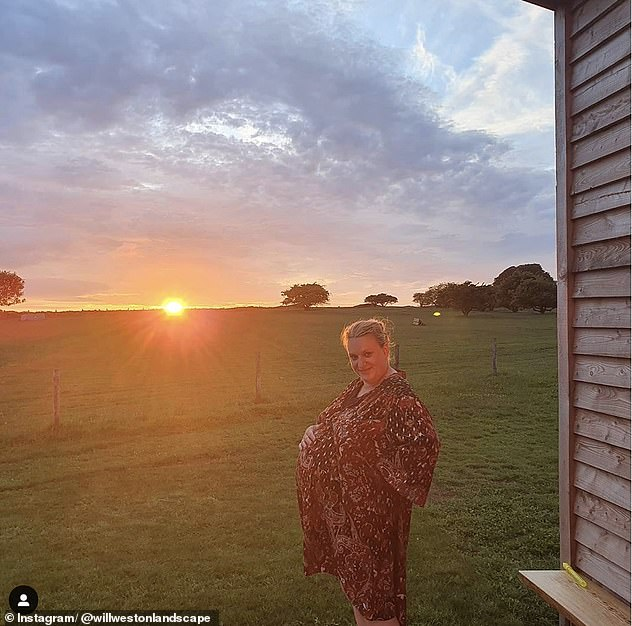 Staycation: Last month her husband Will shared a snap of a heavily-pregnant Daisy against a stunning sunset from their staycation at Cotswold Farm Park.