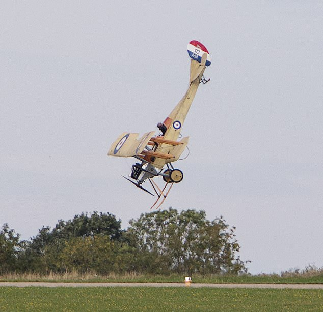 Photos show Matthew Boddington's replica of the Royal Aircraft Factory BE2c spinning out of control before crashing in Sywell aerodrome in Nottinghamshire