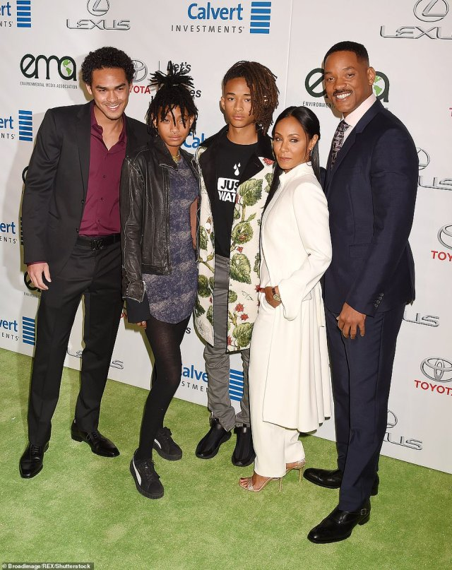 Hollywood royalty: The artist is the daughter of thespians Will, 51, and Jada, 48, who also share son Jaden, 22, (pictured together in 2016 with Trey, 27, the actor's only child with ex-wifeSheree Zampino)