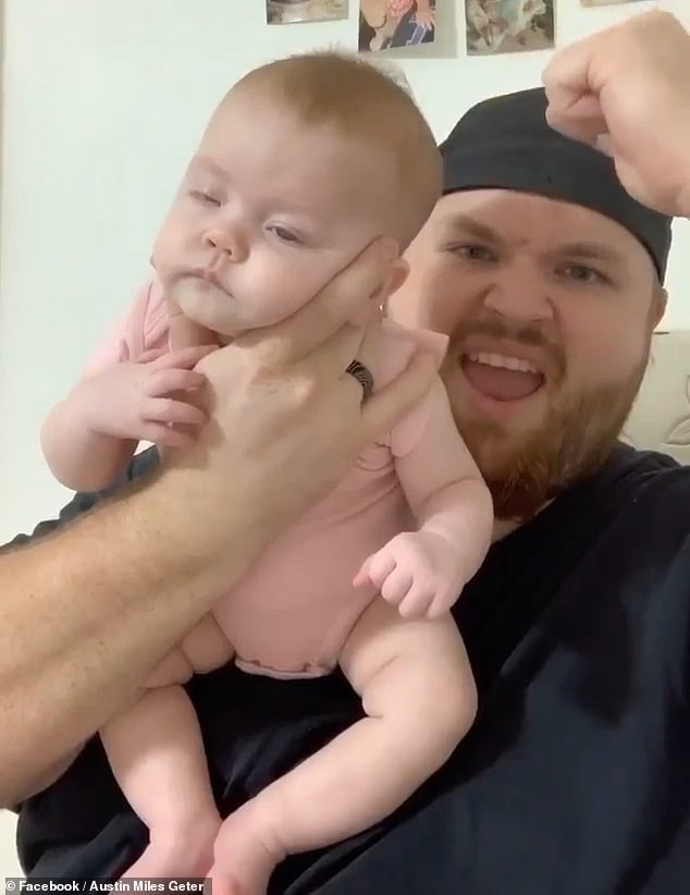 Austin Miles Geter who lives in Texas, has gone viral across social media with his parenting hack for putting babies to sleep. Pictured: Austin and his daughter Charlie