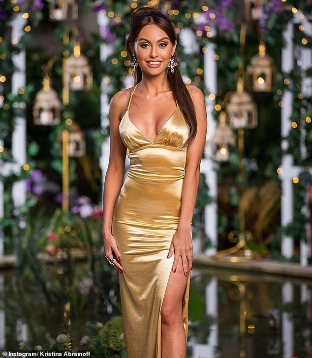 REVEALED: The Bachelor's Kristina Abramoff (pictured) reveals the TRUTH about her PhD and claims she was a 'paid actress' in a tell all YouTube video shared to her account on Thursday
