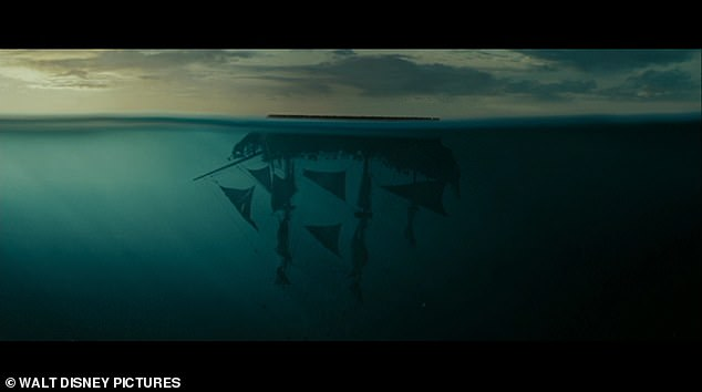 A scene from Pirates of the Caribbean: At World's End, when Captain Jack Sparrow's Black Pearl ship is tipped upside down