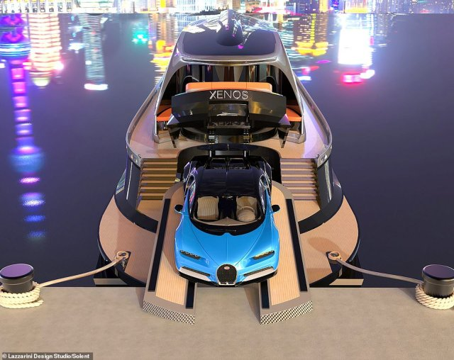 With only 500 Bugatti Chirons in the world the lure of one of the supercars for free with the yacht will be a big selling point