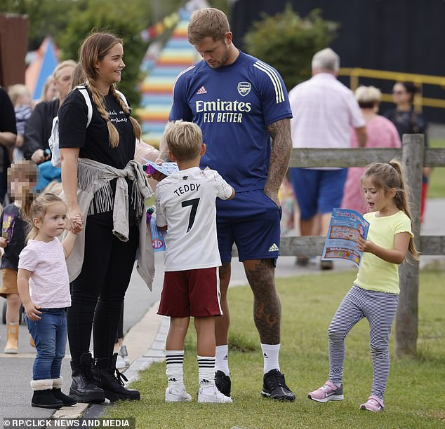Parenting duties: The couple were joined by their daughters Ella, five, and Mia and Dan's son Teddy, six, from a previous relationship