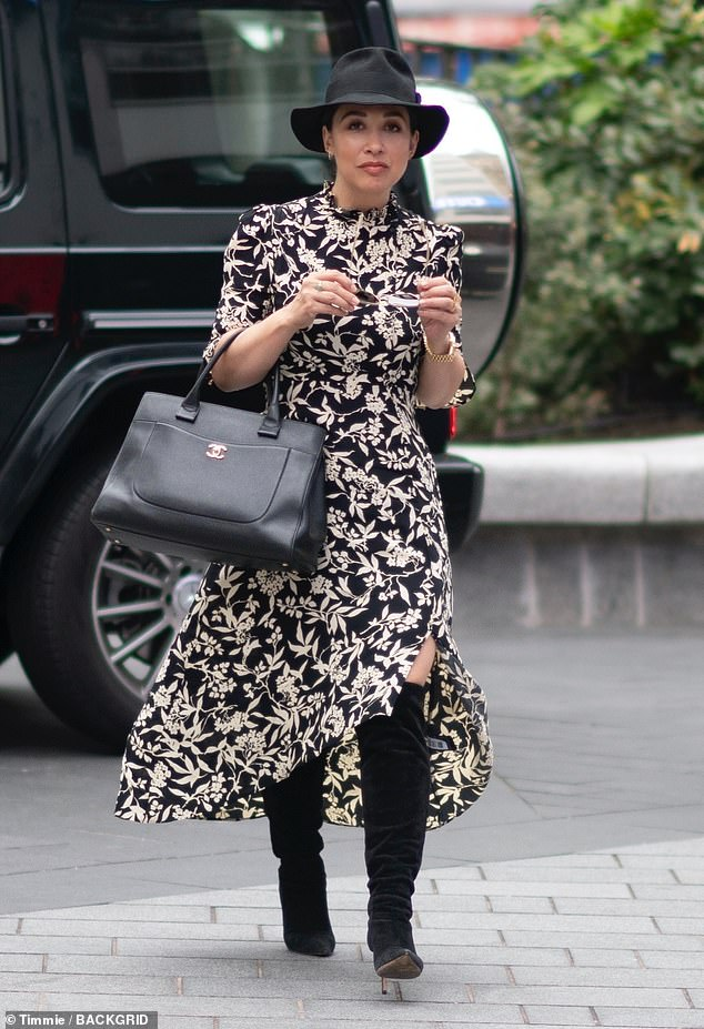 Stunning: Myleene Klass, 42, looked radiant as ever as she arrived at Global Studios to present her show on Smooth Radio on Thursday