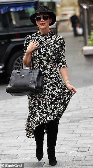 Wow: Looking in good spirits as she arrived to the studio, Myleene completed her look with a pair of sunglasses