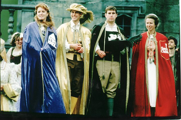 It's a Royal Knockout - the brainchild of Prince Edward - was four teams of celebrities, each with a non-participating royal clad in pantomime costume at the helm - Edward, Princess Anne, Prince Andrew and Sarah Ferguson (pictured)