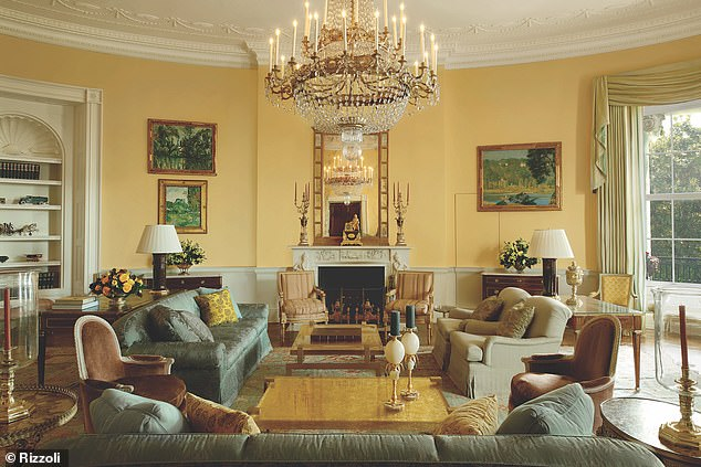 Fancy: The Yellow Oval Room served as the room where 'the president and first lady would serve guests drinks before a dinner party' (pictured)