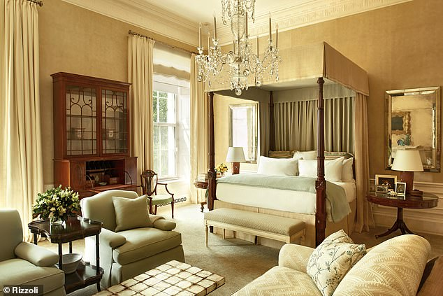 'It was personally very important to me to design a master bedroom [pictured] that would be a true refuge for the president and first lady,' the designer said