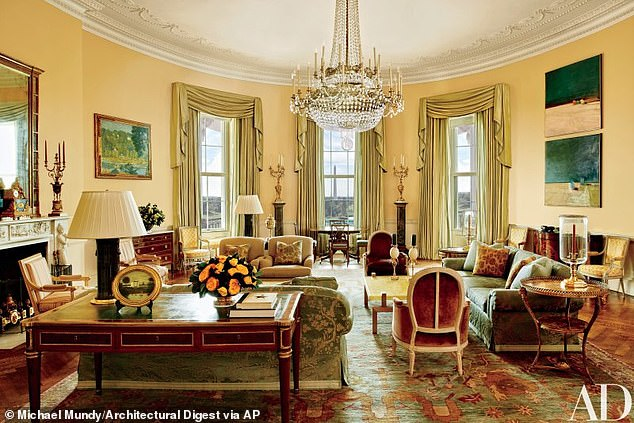 'This room always felt to me as if it were meant to be an American interpretation of a French room,' Smith said of the space, which is seen in a shoot published in Architectural Digest